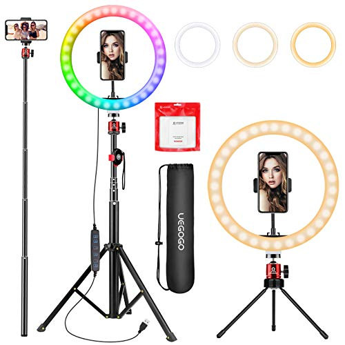 10.2 inch Selfie Ring Light with Tripod Stand & Phone Tripod Holder, UEGOGO 3 Modes RGB Ringlight & Selfie Stick for Makeup/Photography/Live Streaming/YouTube TikTok, Compatible with iPhone/Android