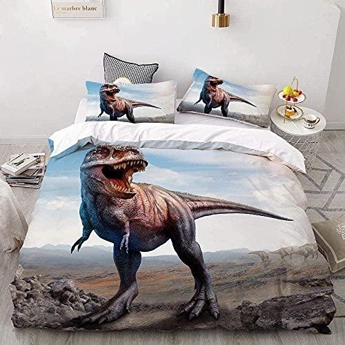 ETDWA Funda de Edredón 180cmx220cm, Juego de Cama con Estampado 3D Juego de Funda nórdica Personalizada para bebés y niños Juego de Ropa de Cama de Dibujos Animados de Dinosaurio Solo Rey