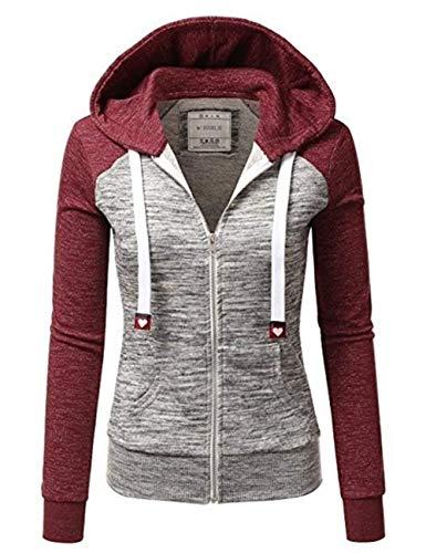 Qingxian Damen Kapuzenpullover Sweatjacke Hoodie Sweatshirt Zipper Hoodies Sweatshirt Oberteil Pullover (Medium, Rosa)