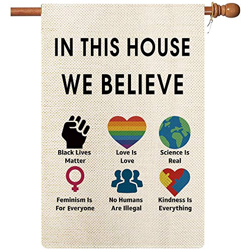 Coskaka in This House We Believe Black Lives Matter Garden Flag BLM Flag All Lives Matter Kindness is Everything Vertical Double Sided Burlap Porch Sign Yard Lawn Outdoor Decor 28x40 Inch