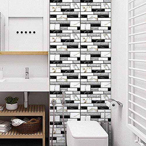 miuline 10pcs 30*30cm Pegatinas para Azulejos de Pared Impermeable Azulejos Adhesives para Baño, Cocina, Sala de Estar y Habitación