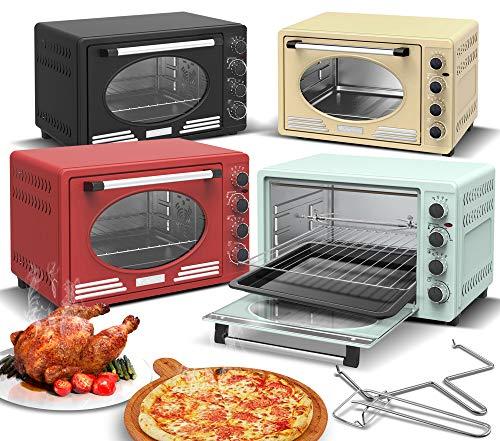 Turbotronic/Retro Minibackofen mit Umluft / 45l / schwarz, rot, blau, beige / 2000W, Mini Backofen, Pizzaofen, Grill (red)