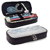 Estuche de lápices de cuero Pencil bag, exquisito Sykline con nubes sobre un prado Tranquilo Lugar Relax Print, Estuche de oficina para estudiantes, 7.8 'x4.5' x1.5 '