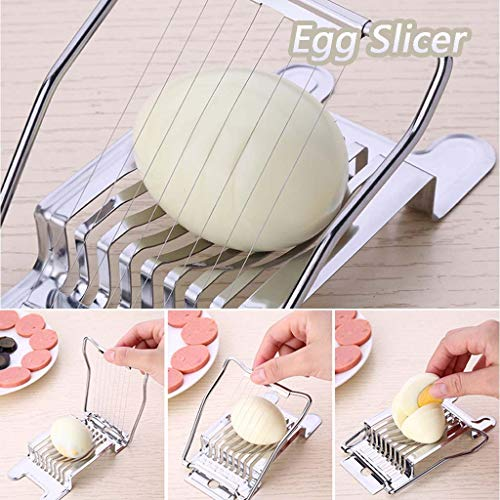 Egg Slicer, FunDiscount Multipurpose Stainless Steel Wire Egg Slicer Cutter Cheeses Chopper Stainless Steel Boiled Eggs Cutting Dicer Divider, Kitchen Slicing Gadgets Cooking Tools (Silver)