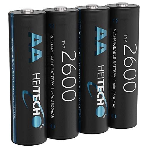 HEITECH 2600 Akku AA Mignon - 4× NiMH Wiederaufladbare Batterien mit min. 2500mAh & 1,2V - Akkus für Geräte mit hohem Stromverbrauch - Akkubatterien ideal für Blitzgerät, Wii & Xbox Controller