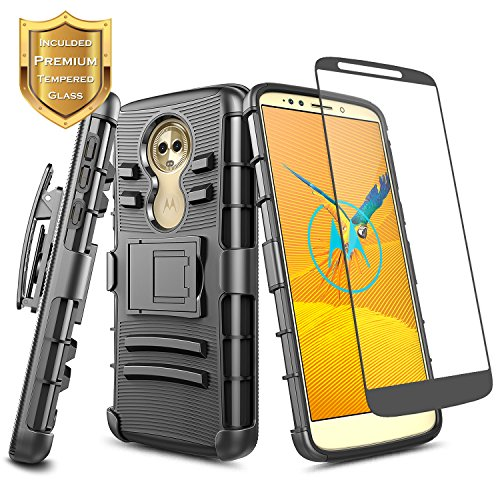 NageBee Moto G6 Play/Moto E5 /Moto G6 Forge with Tempered Glass Screen Protector, Belt Clip Holster Heavy Duty Shockproof Kickstand Durable Case for Motorola Moto G Play 6th Gen -Black