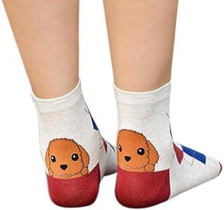 VJGOAL, Raya de moda casual para mujer Animales Calcetines de dibujos animados Huellas de cachorro Calcetines de algodón transpirables(Un tamaño,Rojo)