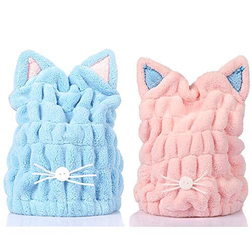 ACCOCO verstellbar Mikrofaser Haar-Trocknen Kappe Haar-Trocknen Handtuch Ultra saugfähig Haare Turban Haartuch für Frauen Erwachsene oder Kinder Mädchen (2 Pack)