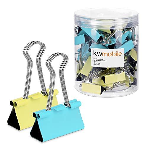 kwmobile Set de 50 Clips para la oficina casa escuela - Pinzas para papel de metal- 32MM - Amarillo y azul menta