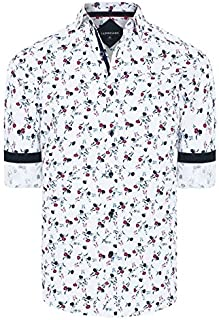Tarocash Men's Lionel Floral Print Regular Fit Long Sleeve Sizes XS-5XL for Going Out Smart Occasionwear