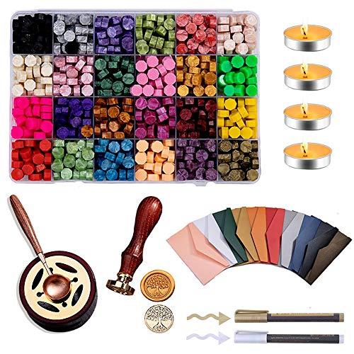 Powstro Wachs-Siegelstempel, Retro-Feuerlack-Dichtungsset, Vintage-Wachs-Wachs-Kit mit 24-Farben-Wachsperlen