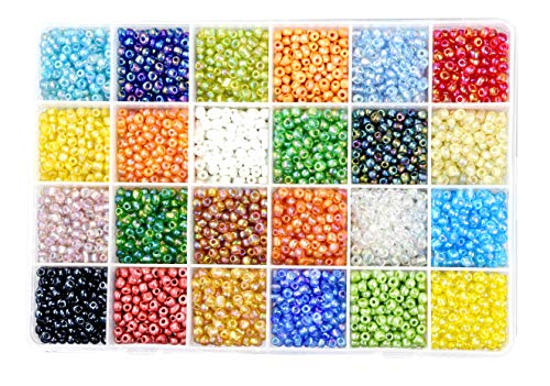 Mandala Crafts Glass Seed Beads, Small Pony Beads Assorted Kit with Organizer Box for Jewelry Making, Beading, Crafting (Round 4X3.4MM 6/0, AB Iridescent)