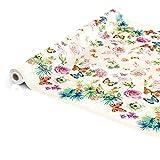 ANRO Wachstuchtischdecke Wachstuch Wachstischdecke Tischdecke Schmetterlinge Wiese Blumen Beige 100 x 140cm - 4