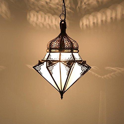 Casa Moro Orientalische Pendelleuchte marokkanische Lampe Jawhara Milchweiß | Kunsthandwerk aus Marrakesch wie aus 1001 Nacht | L1276