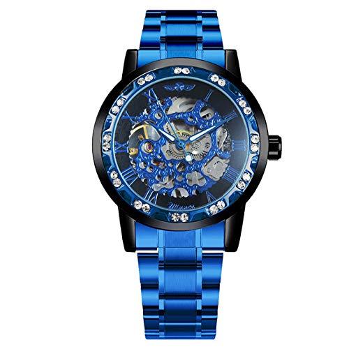 GUOJIAYI Reloj azul para hombre, correa de acero inoxidable, reloj casual
