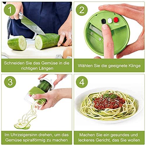 Overjoy Cortador de Verdura 5 en 1 Rallador de Verduras Calabacin Pasta Espiralizador Vegetal Veggetti Slicer, Calabacin Pasta,Cortador en Espiral Manual,Adecuado para Zanahorias,Pepinos,etc