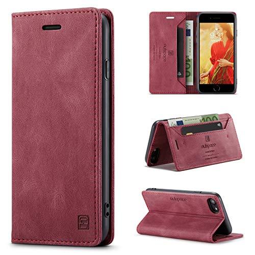 uslion - Custodia per iPhone 6/6S/7/8/SE 2020, con chiusura magnetica, con scomparti per carte di credito, funzione di supporto, per iPhone 6/6S/7/8/SE2, colore: Rosso vino