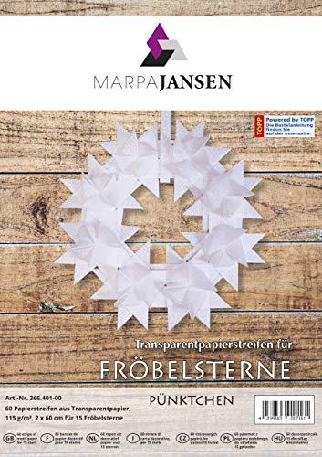 MarpaJansen Papierstreifen für Fröbelsterne - (2 x 60 cm, 60 Streifen, 115 g/m²) - Transparentpapier - Pünktchen weiß
