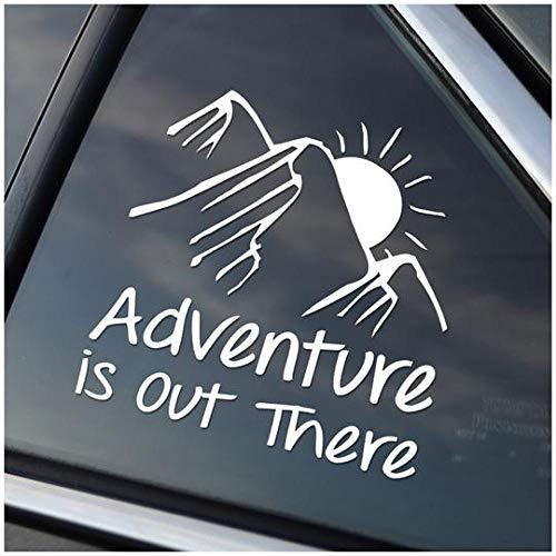 Pegatinas de PVC talladas para ventana de coche, 2 hojas, con texto en inglés 'Adventure is Out There'