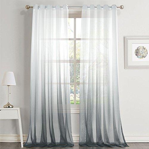 Dreaming Casa Farbverlauf Vorhang Grau Voile Gardinen Transparent mit Ösen Ösenschal Dekoschal Fensterschal für Wohnzimmer Schlafzimmer 140cm x 225cm (B x H) 2er Set