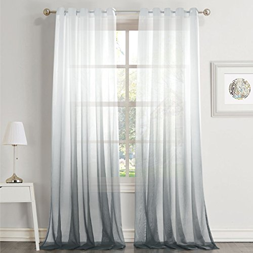 """Dreaming Casa Gradient Ombre Sheer Curtains Draperies Window Treatment Voile for Living Room Kid's Room 84 Inches Long Grommet Top 42"""" W x 84"""" L Grey 2 Panels"""
