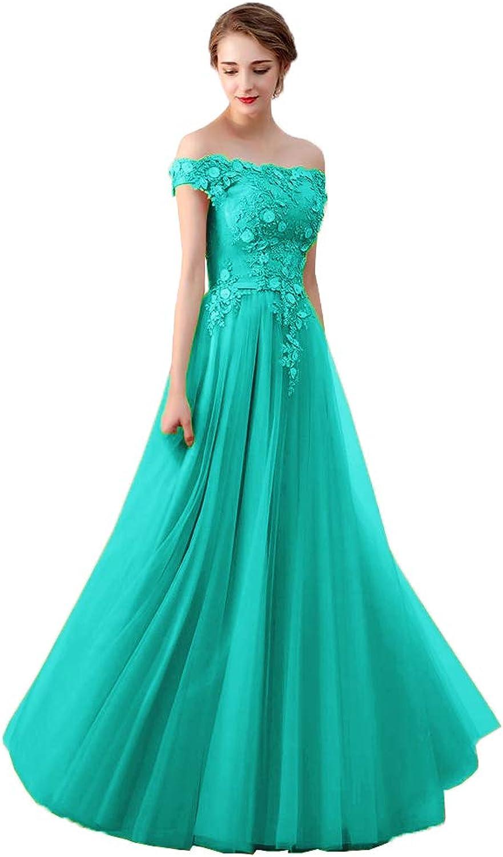 EileenDor Women's Off Shoulder Tulle Prom Dresses Boat Neck Lace Appliques Formal Evening Dresses