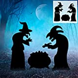 Halloween Decorations Outdoor, 2 Black Witches and 1 Cauldron Yard Signs with Stakes, Scary Witches Silhouette for Halloween Garden Lawn Party Decor
