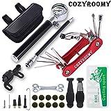 COZYROOMY Fahrrad Reifen Reparaturset - Reparatur Werkzeug Set mit 210 Psi-Minipumpe 10 in 1 Multitool (Mit Kettenabscheider),10 Fahrrad Flicken, 3 In 1 Reifenheber, Saddle Bag. 6 Monate Garantie