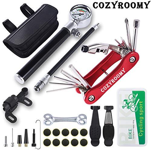 COZYROOMY Kit réparation Pneu vélo. Kit Outil vélo comprises Mini Pompe 210 psi, Outil 10 en 1,Clé à os multifonctionnelle, Levier de Pneu et Patch de Pneu, 1 Sac de Selle. Garantie de 6 Mois