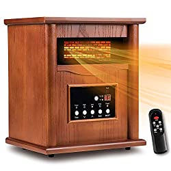 Electric Indoor Space Heater, Infrared Cabinet Heater, Tip-Over & Overheat Protection with Remote Control, 3 Heat Settings, 12H Timer, 1500W for Room Basement Heating