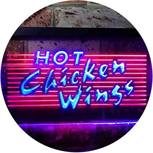 ADVPRO Hot Chicken Wings Dual Color LED Neon Sign Red & Blue 16
