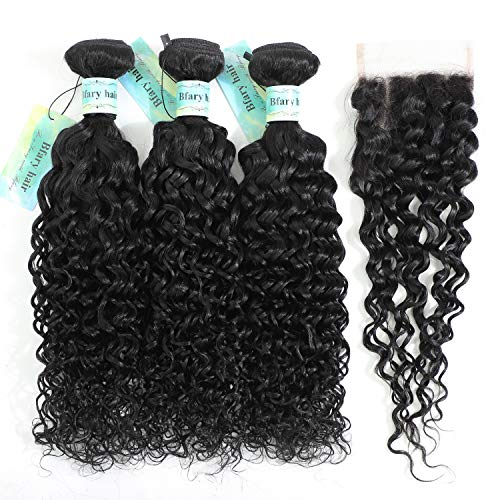 Bfary Hair Peruvian Water Wave 3 Bundles with Closure(16 18 20+14), 9A Unprocessed Virgin Human Hair Weave with Free part Lace Closure, Cheap Hair Extension Wet and Wavy Curly Hair Natural Color