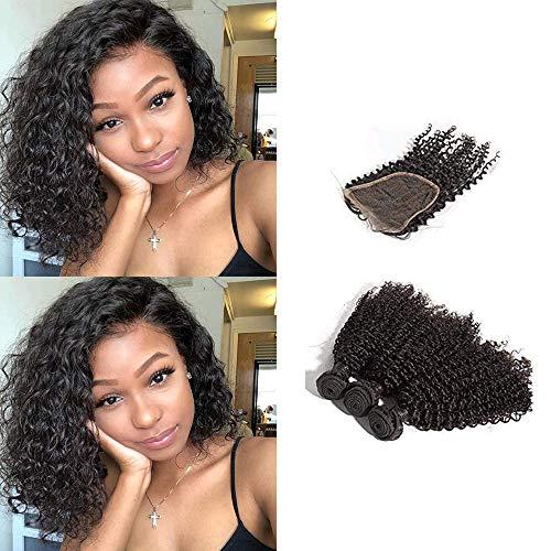 BLISSHAIR 3 Bündel mit Lace Closure, Echthaar Haarverlängerung Kinky Curly Brasilianisches Virgin Remy Hair (8 8 8+8 Inch)