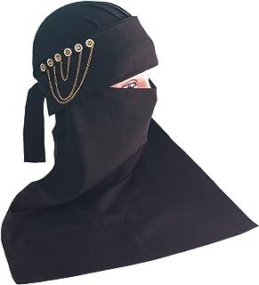 AL RIDHA Women's Fancy Chain Nakab Nosepiece Hijab Black Colour in Soft Firdous fabric