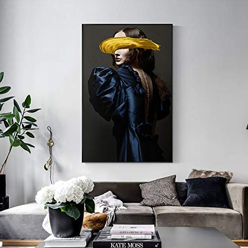 SADHAF abstracte portretdruk modedruk canvas poster wandkunst beeld design decoratie 50x70cm (kein Rahmen) A3