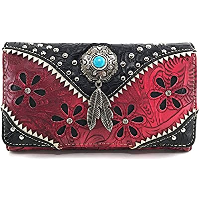 Justin West Turquoise Stone Concho Feathers Western Tooled Studs Concealed Carry Handbag Purse (Red Wallet Only)