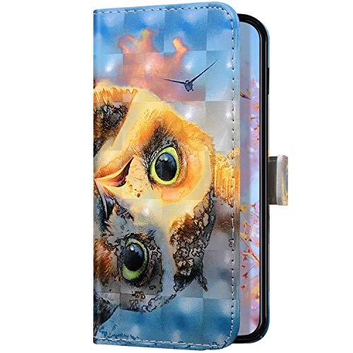 Uposao Kompatibel mit Samsung Galaxy A20 / A30 Handyhülle Leder Schutzhülle Glitzer Bling 3D Klapphülle Flip Case Brieftasche Leder Hülle Bookstyle Wallet Tasche Magnet Kartenfächer,Eule