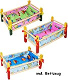 alles-meine.de GmbH 2 Stück _ Holz - Puppenbetten -  Bunte Tiere  - 40 cm lang - aus Naturholz - incl. Bettzeug - Decke & Kopfkissen - für Puppen - Holz Wiege Kinderbett Bett B..