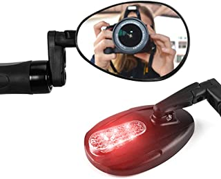 Huanxin Bike Mirror Bicycle Rear, Bicycle Bike Handlebar Convex Glass Mirror Rotatable and Adjustable Wide Angle Rear View Mirror, with Ligh