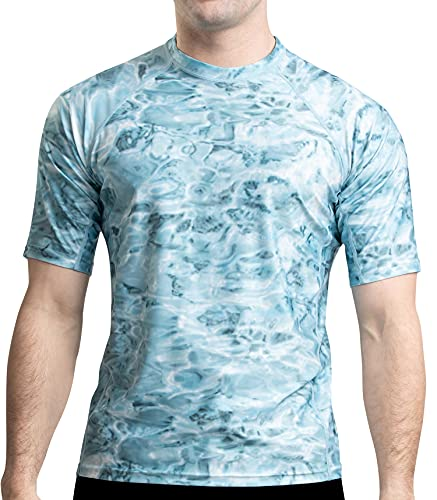 Aqua Design Rash Guard Men: UPF 50+ Short Sleeve Rashguard Swim Shirts for Men: Aqua Sky, Size 4XL