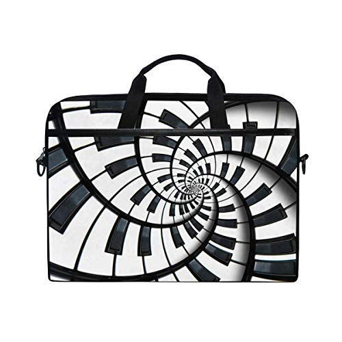Laptop Sleeve Case,Laptop Bag,Black White Musical Piano Art Water Briefcase Messenger Notebook Computer Bag with Shoulder Strap Handle,29×40 CM/15.6 Inch