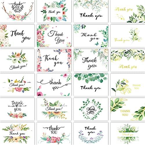 Tarjetas de Agradecimiento, 24 Tarjetas Florales de Agradecimiento con Pegatinas y Sobres...