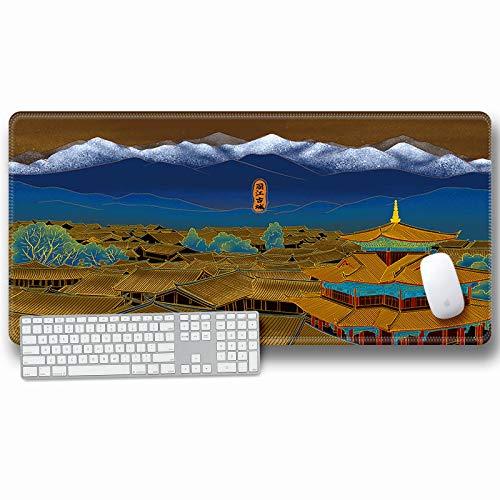 alfombrilla de ratón grande Escritorio Gaming Grande XXL 700x300x3mm Arte arquitectónico antiguo chino Alfombrilla para Ratón PC Mouse Pad Impermeable Cojín de Ratón Antideslizante Mousepad para Video