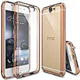 Ringke Fusion Compatible with HTC One A9 Case Crystal Clear PC Back TPU Bumper with Screen Protector Drop Protection, Shock Absorption Technology Attached Dust Cap for HTC One A9 - Rose Gold