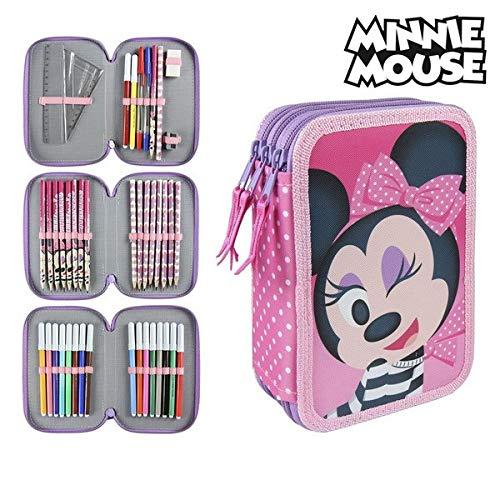 Disney Minnie 2700000241- Astuccio Triplo, 3 Scomparti, Pennarelli, Pastelli, Accessori Scuola 42 pezzi, Poliestere, Multicolore