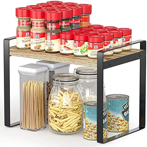 Countertop Organizer, Heavy Duty Cupboard Stand Spice Rack, 9.6″ Height Cabinet Pantry Shelf Riser, Organization and Storage For Kitchen, 13″ Length, Black