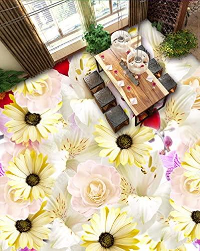 Personalizable Calcomanías Murales De Vinilo Extraíbles Etiqueta De La Pared 3D Papel Pintado Para Suelo Flor-200Cmx140Cm