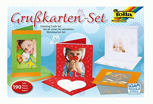 folia 10019 - Grußkarten Set, 190 Teile, mit Passepartoutkarten, Kuverts und Material zum Verzieren
