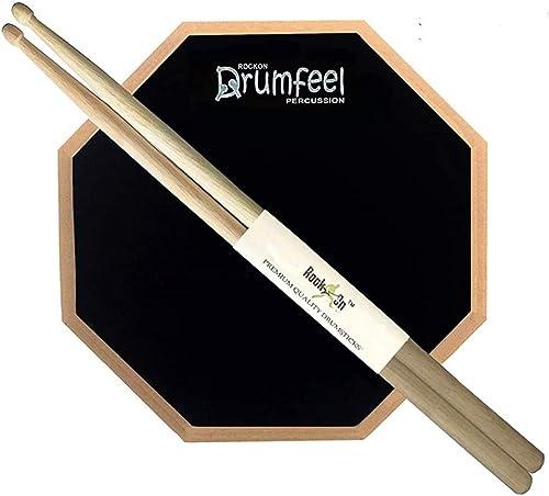 "Rockon 8"" Inches 2 Sided Drum Practice Pad + Bag + Drum Sticks"