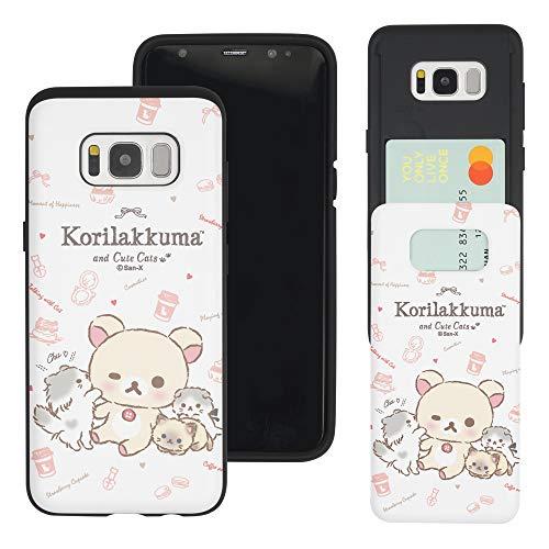 Compatible with Galaxy S7 Case (5.1inch) Rilakkuma Slim Slider Card Slot Dual Layer Holder Bumper Cover - Korilakkuma Cat